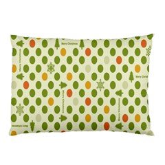 Merry Christmas Polka Dot Circle Snow Tree Green Orange Red Gray Pillow Case by Mariart