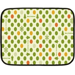 Merry Christmas Polka Dot Circle Snow Tree Green Orange Red Gray Fleece Blanket (mini) by Mariart