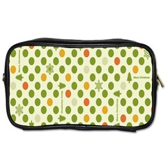 Merry Christmas Polka Dot Circle Snow Tree Green Orange Red Gray Toiletries Bags by Mariart