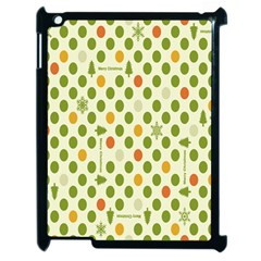 Merry Christmas Polka Dot Circle Snow Tree Green Orange Red Gray Apple Ipad 2 Case (black) by Mariart