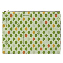 Merry Christmas Polka Dot Circle Snow Tree Green Orange Red Gray Cosmetic Bag (xxl)  by Mariart