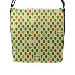 Merry Christmas Polka Dot Circle Snow Tree Green Orange Red Gray Flap Messenger Bag (l)  by Mariart