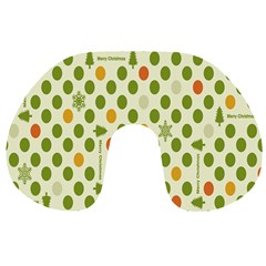 Merry Christmas Polka Dot Circle Snow Tree Green Orange Red Gray Travel Neck Pillows by Mariart