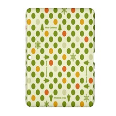 Merry Christmas Polka Dot Circle Snow Tree Green Orange Red Gray Samsung Galaxy Tab 2 (10 1 ) P5100 Hardshell Case  by Mariart