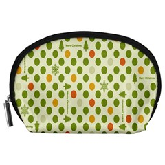 Merry Christmas Polka Dot Circle Snow Tree Green Orange Red Gray Accessory Pouches (large)  by Mariart