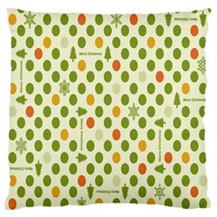 Merry Christmas Polka Dot Circle Snow Tree Green Orange Red Gray Standard Flano Cushion Case (two Sides) by Mariart
