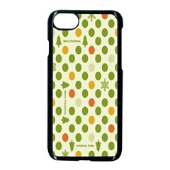 Merry Christmas Polka Dot Circle Snow Tree Green Orange Red Gray Apple Iphone 7 Seamless Case (black) by Mariart