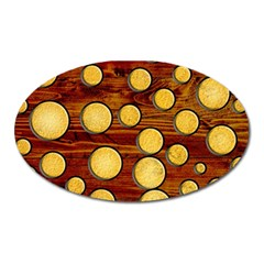 Wood And Gold Oval Magnet