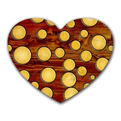 Wood And Gold Heart Mousepads