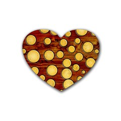 Wood And Gold Rubber Coaster (heart)  by linceazul