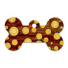 Wood And Gold Dog Tag Bone (two Sides)