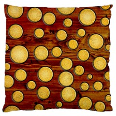 Wood And Gold Large Flano Cushion Case (two Sides)