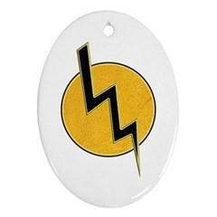 Lightning Bolt Oval Ornament (two Sides)