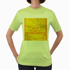 Texture Yellow Abstract Background Women s Green T Shirt