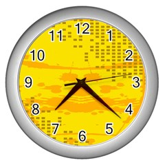 Texture Yellow Abstract Background Wall Clocks (silver)  by Nexatart