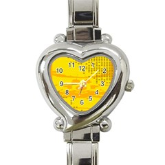 Texture Yellow Abstract Background Heart Italian Charm Watch by Nexatart