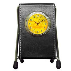Texture Yellow Abstract Background Pen Holder Desk Clocks