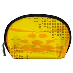 Texture Yellow Abstract Background Accessory Pouches (large)  by Nexatart