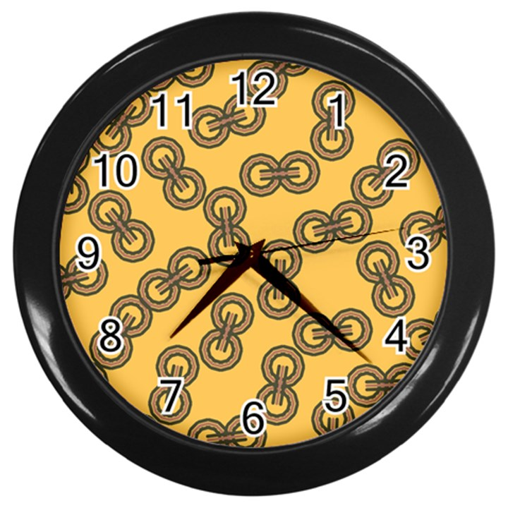 Abstract Shapes Links Design Wall Clocks (Black)