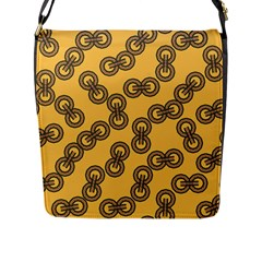 Abstract Shapes Links Design Flap Messenger Bag (l)  by Nexatart