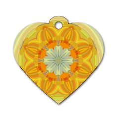 Sunshine Sunny Sun Abstract Yellow Dog Tag Heart (two Sides) by Nexatart