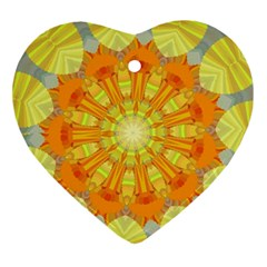 Sunshine Sunny Sun Abstract Yellow Ornament (heart) by Nexatart