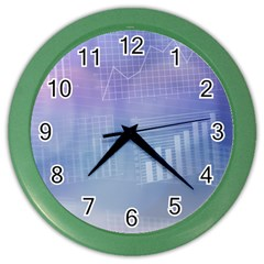 Business Background Blue Corporate Color Wall Clocks by Nexatart