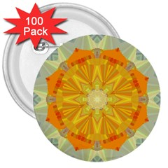 Sunshine Sunny Sun Abstract Yellow 3  Buttons (100 Pack)