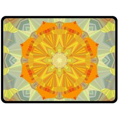 Sunshine Sunny Sun Abstract Yellow Double Sided Fleece Blanket (large)  by Nexatart