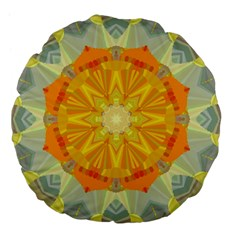 Sunshine Sunny Sun Abstract Yellow Large 18  Premium Flano Round Cushions by Nexatart