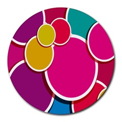 Paint Circle Red Pink Yellow Blue Green Polka Round Mousepads by Mariart