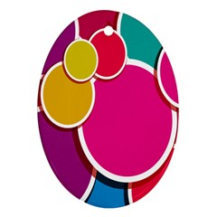 Paint Circle Red Pink Yellow Blue Green Polka Ornament (oval)