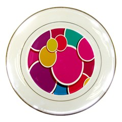 Paint Circle Red Pink Yellow Blue Green Polka Porcelain Plates by Mariart