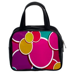 Paint Circle Red Pink Yellow Blue Green Polka Classic Handbags (2 Sides) by Mariart