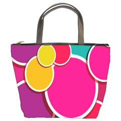 Paint Circle Red Pink Yellow Blue Green Polka Bucket Bags by Mariart