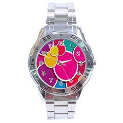 Paint Circle Red Pink Yellow Blue Green Polka Stainless Steel Analogue Watch by Mariart