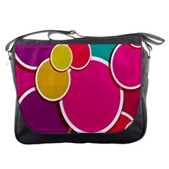 Paint Circle Red Pink Yellow Blue Green Polka Messenger Bags by Mariart