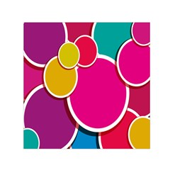 Paint Circle Red Pink Yellow Blue Green Polka Small Satin Scarf (square)