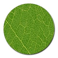 Green Leaf Line Round Mousepads by Mariart