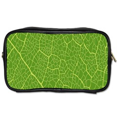 Green Leaf Line Toiletries Bags 2 Side by Mariart