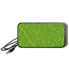 Green Leaf Line Portable Speaker (black) by Mariart