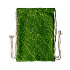 Green Leaf Line Drawstring Bag (small) by Mariart