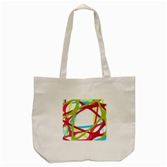 Nets Network Green Red Blue Line Tote Bag (cream) by Mariart