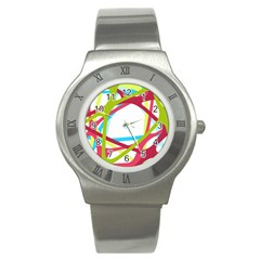Nets Network Green Red Blue Line Stainless Steel Watch by Mariart