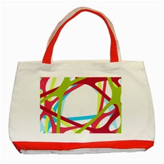 Nets Network Green Red Blue Line Classic Tote Bag (red) by Mariart