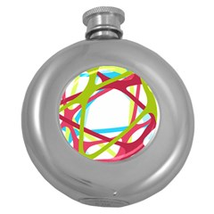 Nets Network Green Red Blue Line Round Hip Flask (5 Oz) by Mariart