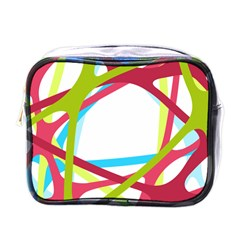 Nets Network Green Red Blue Line Mini Toiletries Bags by Mariart