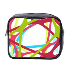Nets Network Green Red Blue Line Mini Toiletries Bag 2 Side by Mariart
