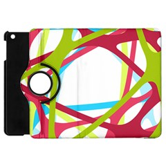 Nets Network Green Red Blue Line Apple Ipad Mini Flip 360 Case by Mariart