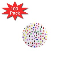 Paw Prints Dog Cat Color Rainbow Animals 1  Mini Magnets (100 Pack)
